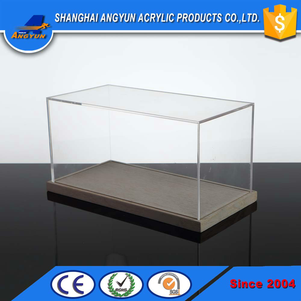 custom acrylic box with wood base acrylic storage box plexiglass display case