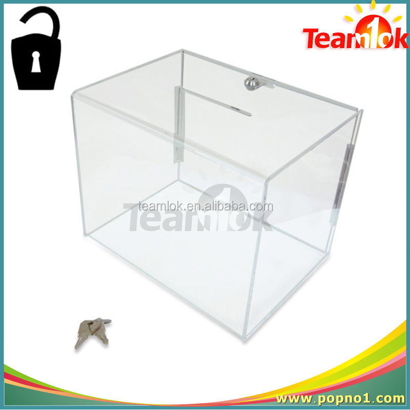 New Clear Acrylic Coin Donation Box, Made of Acrylic, Customized Logos and Printing