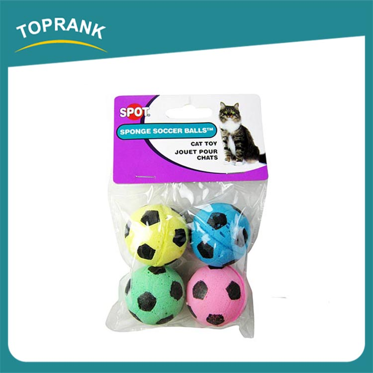Bulk handmade colorful soft cat toys sponge balls