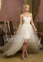 Sexy Sweetheart Neck Detachable Train Lace Short Front Long Back Wedding Dress Tao Bao Wedding Dress A77