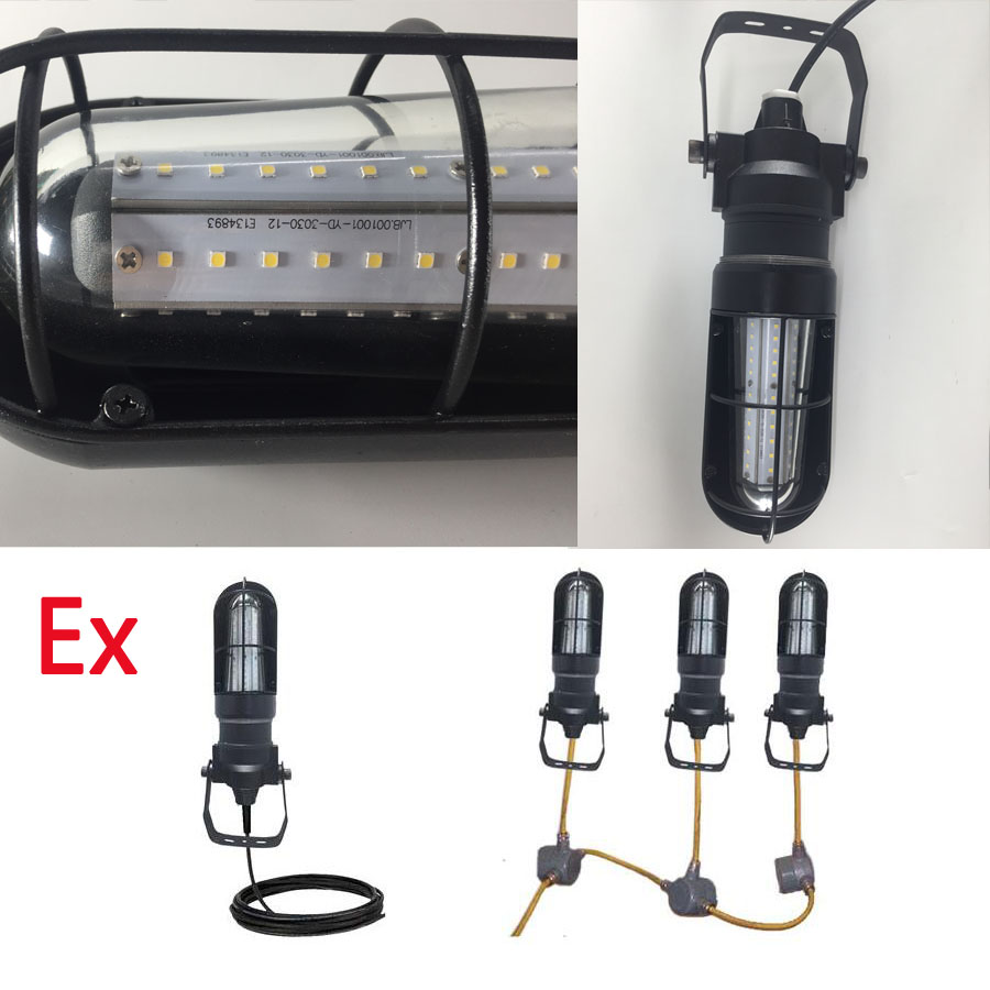 Hazardous Location LED String Lights with Extension Cord - 2 to 10 Lamps - Chemical Resistant - CID1