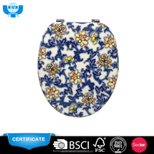 "Three sides printed mdf 18"" china portable decorative plush toilet seat cover"