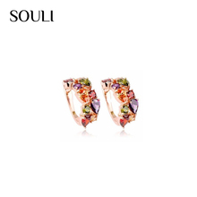 Custom jewelry wholesale multicolor zircon crystal clip earring for dinner party