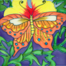 Butterflies design hand painted ceramic wall tiles