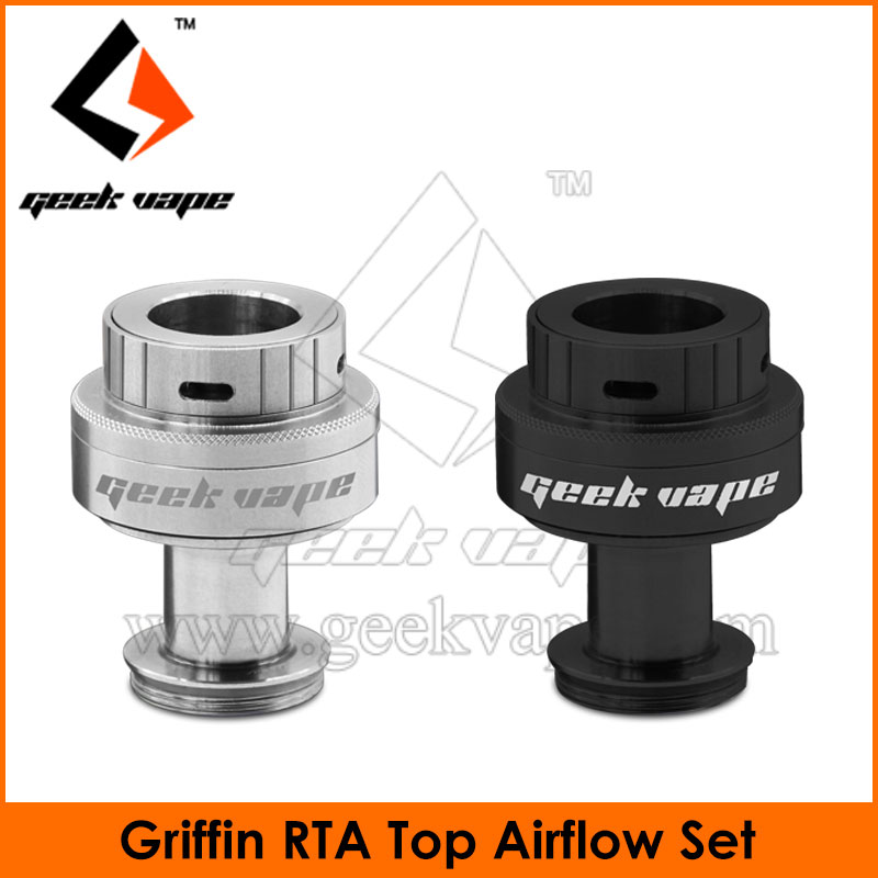 Geekvape Black and SS Top Airflow Set used on Griffin RTA rebuildable tank