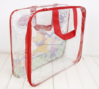 zhengyu clear printed pvc plastic packaging carry bags with non woven handles