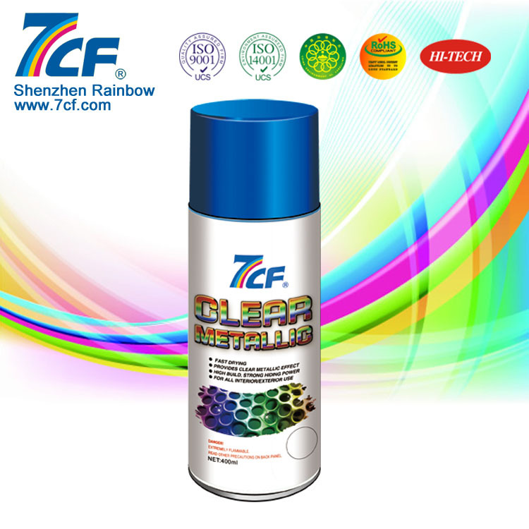 Shenzhen Rainbow Fine Chemical Brand 7CF 400ml Acrylic Clear Metallic Spray Paint