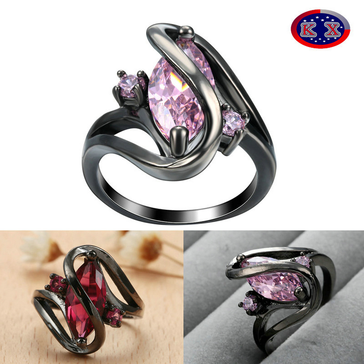 Stock Wholesale Fine Zircon Rings Black Gold Ring <strong>Jewelry</strong> 4 Colors