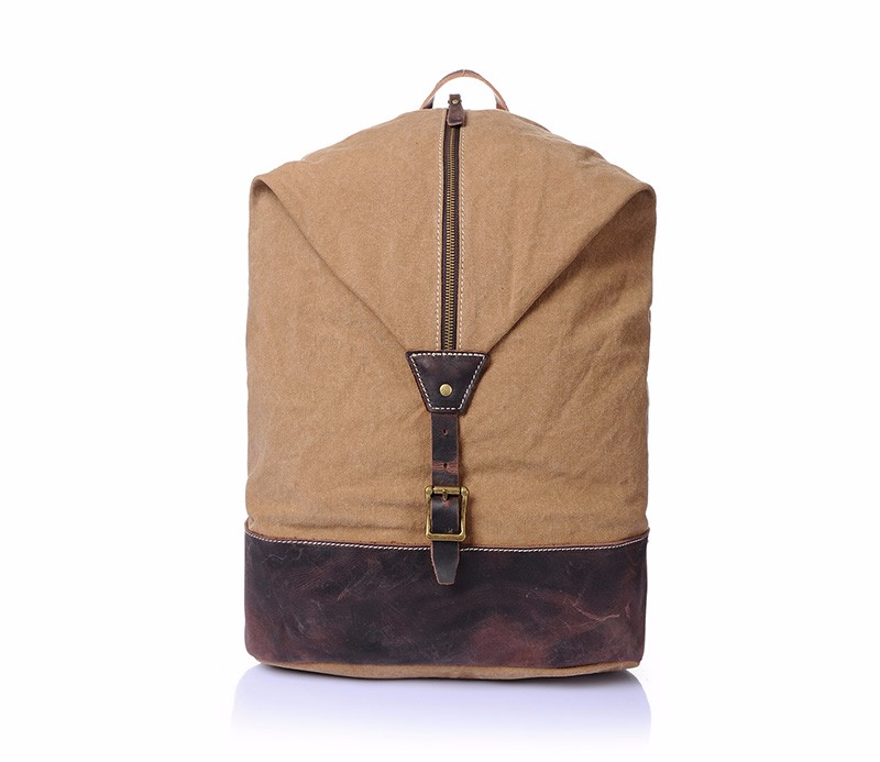 2016 wholesale customized logo vintage backpack canvas men with real leather trim for made in China