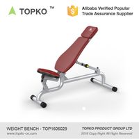 TOPKO Adjustable Weight Lifting Bench Crossfit Gym Weight Sit Up Flat Fitness Bench