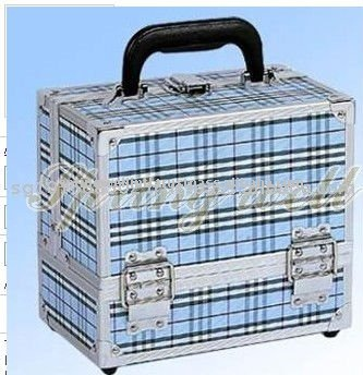 China Stripe Light Blue Clothing Material Aluminum Makeup Storage