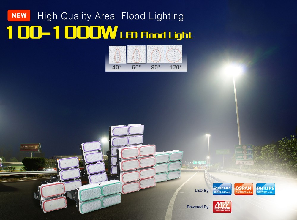 high performance outdoor 1000W high power led flood light with modular design