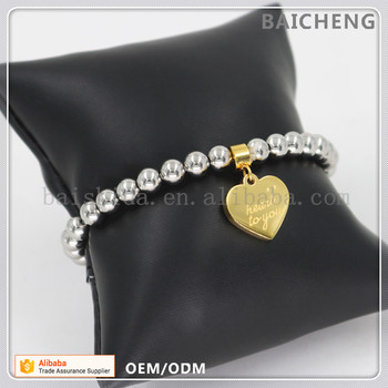Silver beads with gold plated charm bracelet Wholesales stainelss steel bracelet Golden heart shape charm bracelet