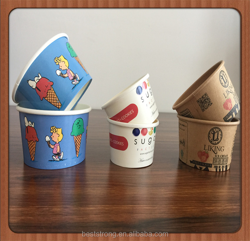 custom logo paper ice cream cup plastic yogurt containers