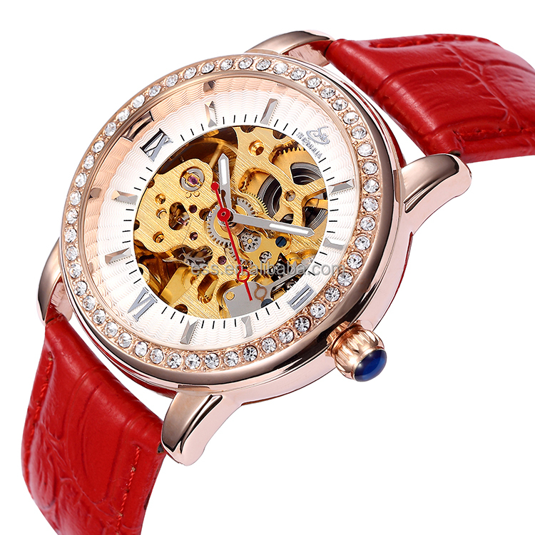 Buy 5 get 1 Latest hot selling fashion diamond cloth belt accessories red lady watch ,colorful geneva mechanical watch