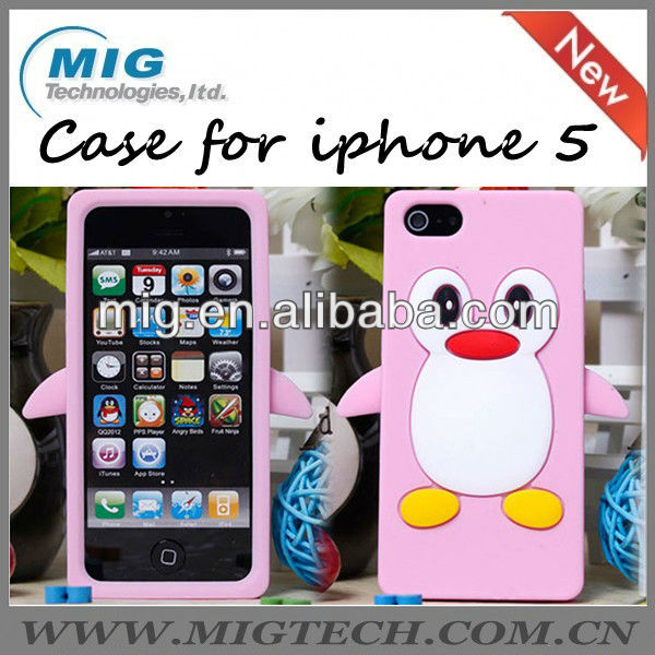 "New product penguin case for iphone 5S, for apple iphone 5"" original"