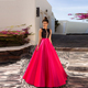 Women Dresses Elegant Evening Gown 2018 Sequined Top Satin Skirt A Line Ladies Formal Night Dress