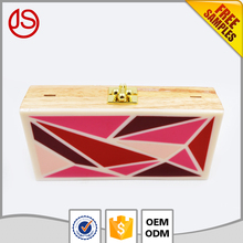 Hot selling Color shell wooden women clutch evening bag