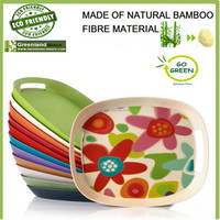 food safe biodegradable bamboo fiber fast food tray with handle