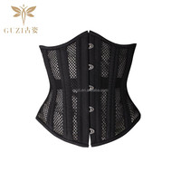 2015 new 26 Steel Skeletons Black Net Cloth Short Steel Bone Corset
