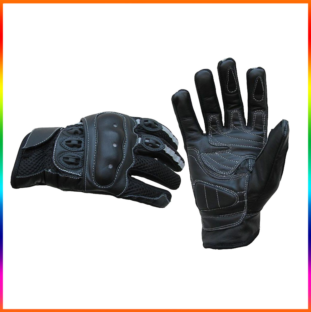 Summer motorcycle gloves fabric and leather protection / Protective & breathable motorcycle gloves
