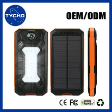 Outdoor External Battery Solar Power Bank Dual USB Output Solar Power Bank 5V 8000ma Solar Power Bank With LED Flashlight
