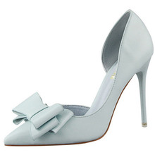 beautiful sweet bow tie pumps 11 cm thin high heels cut-outs office ladies dress summer stiletto shoes
