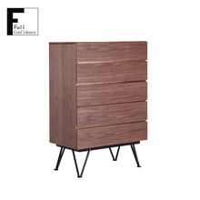 Modern Wood Cabinet with Aluminium Decorative Strip in Gold Color