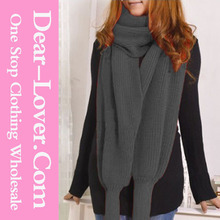 Turkey Winter 2015 Grey Versatile Cozy Knit Shawls and Scarves with Sleeves