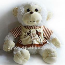 Custom design good quality white monkey love plush toy