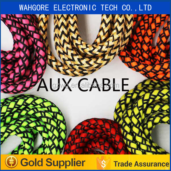3.5mm 1.5M braided aux cable aux car cable stereo+Mic