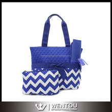 Wholesale Bow Quilted Chevron Diaper Bags