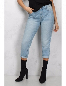 Royal wolf denim jeans manufacturer light blue wash cropped cuffed high waist d jeans ladies