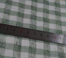 Green And White Check Double Sided Cotton Mesh For Garment Fabric