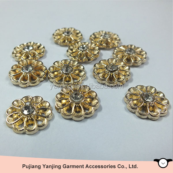 Gold Brass flower shape Hot Fix Dome Studs Fashion Metal Nailhead Iron On Copper Stud