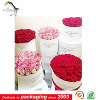 custom paper tube flower bouquets packaging with fabric ribbon printed logo