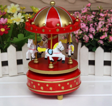 Wholesale Wooden carousel horse music box 6 colors