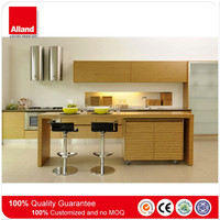 China particle board I shape MFC kitchen cabinet with island cabinet