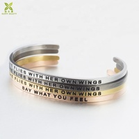 Personalized jewelry custom engraved letter name metal cuff bracelet bangle inspirational cuff bracelet