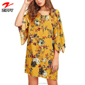 Women's Bohemian Neck Tie Floral Print Ethnic Style Shift Short Mini Boho Dress