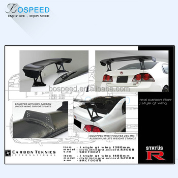 JS Racing Spoiler Carbon Fiber GT Wing for Honda Civic FD2