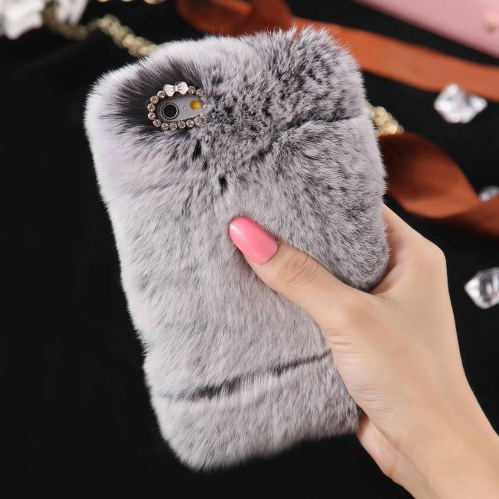 Cute rabbit fur back cover fancy furry phone cases shockproof tpu case for apple <strong>iphone</strong> 6 6 plus 7 7 plus