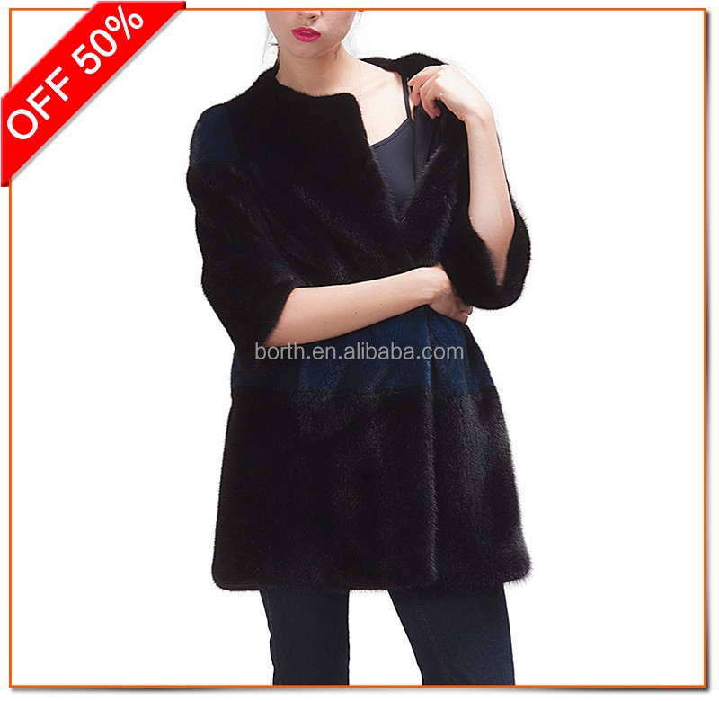 D8855 women winter outerwear short style splicing color round neck natural coat real mink fur jacket
