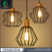 Modern Decorative Black Iron Pendant Light Hanging Cage retro wooden pendant lamp