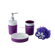 3pcs One set purple ceramic bathroom accessories set