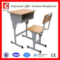 Wooden Steel classroom lectern podium Single school desk and Chair set
