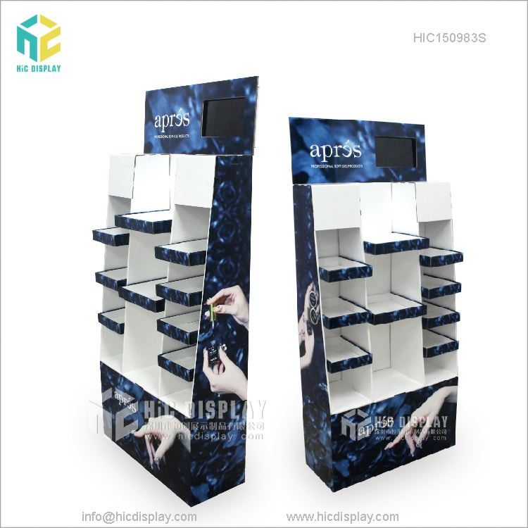 Quality Supplier Corrugated Shelf Advertising Pop Custom Cardboard Display With LCD