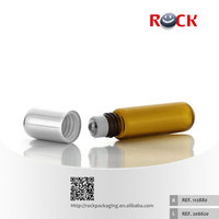 Hot sale 5ml brown cosmetic glass roller ball bottles, roll on bottle