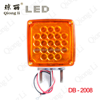 12V amber and red double face 45 pieces led head light for truck