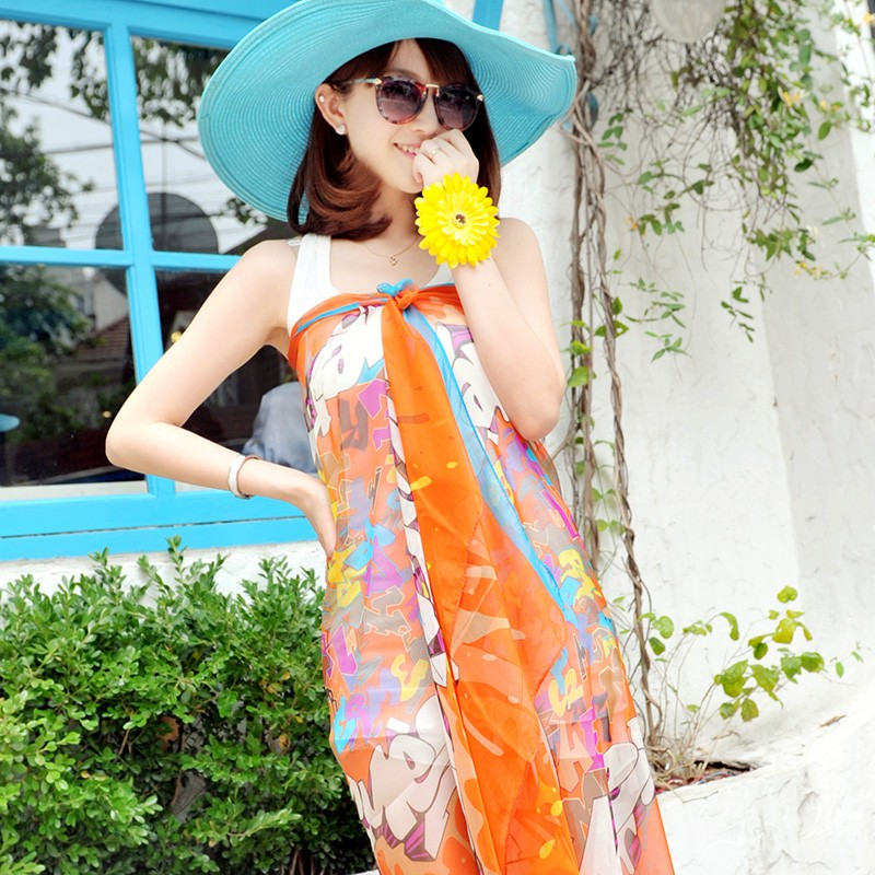 100% polyester voile printed cheap fashion chiffon lady scarves